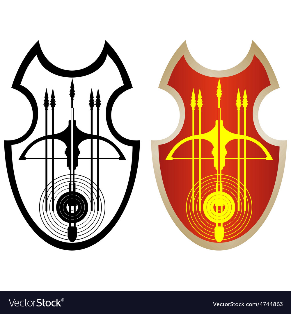 Shield crossbow and arrows-1 vector image