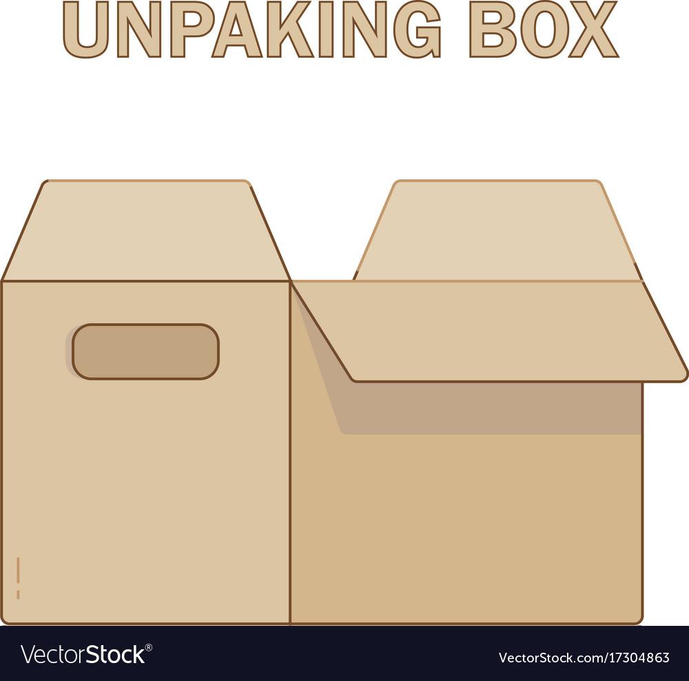 Unpacking box icon flat style