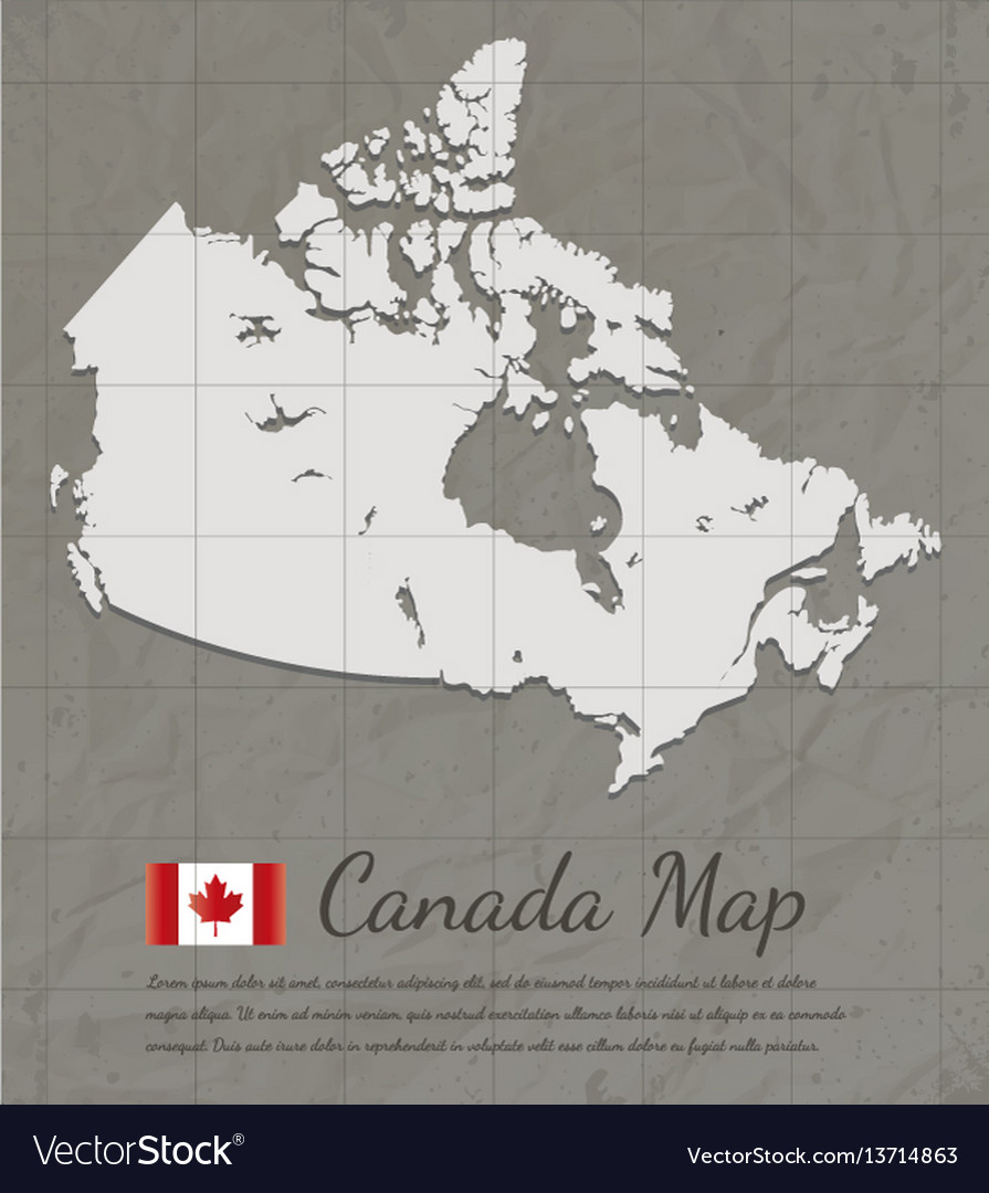 Vintage canada map paper card map silhouette