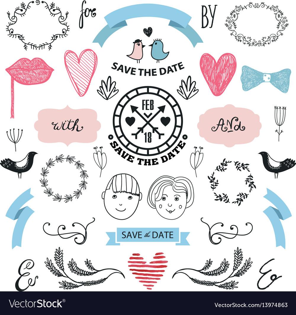 Wedding graphic set arrows hearts laurel
