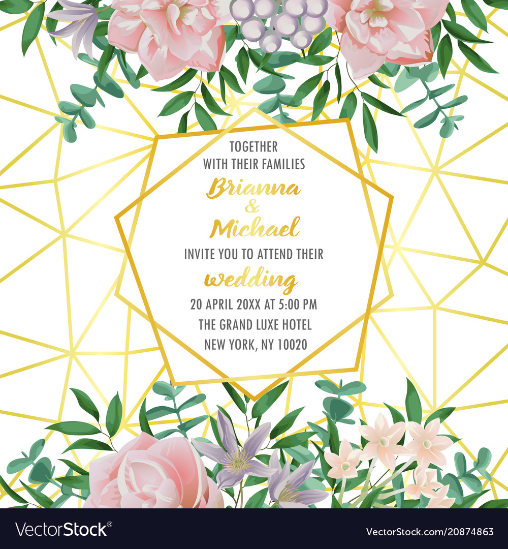 Wedding invitation with geometric frame flowers vector image stopboris Image collections