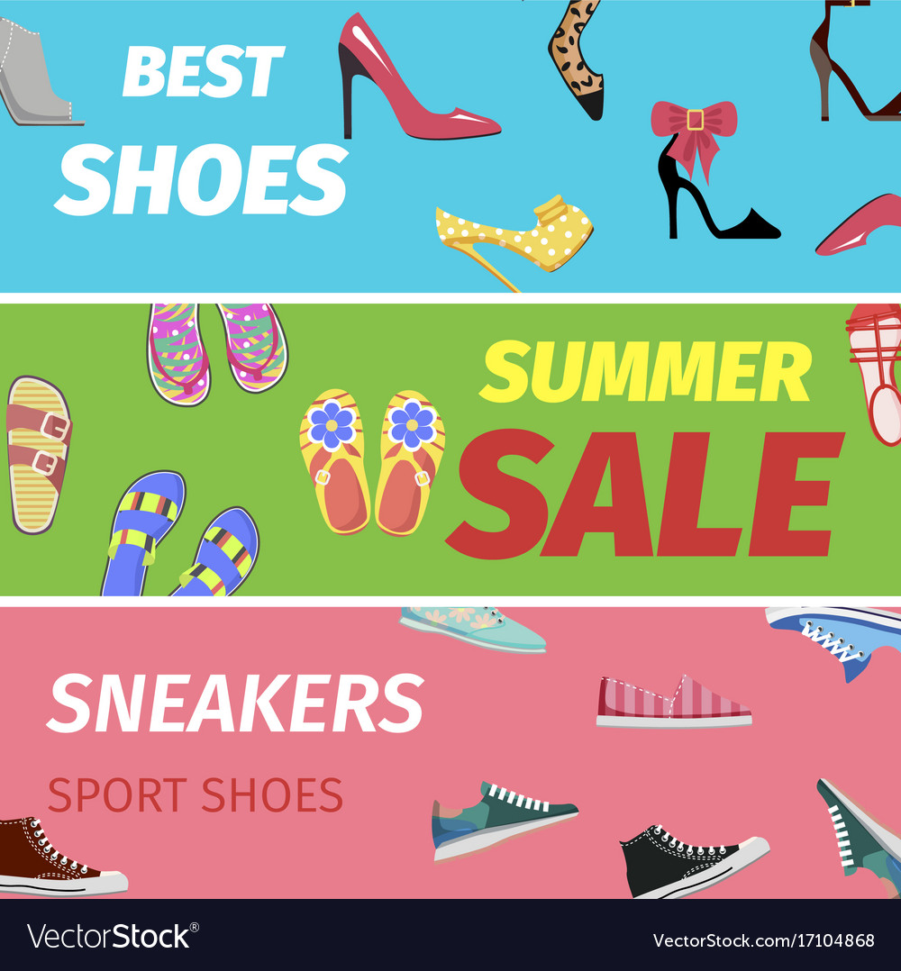 sneakers sport shoes banners Vector Image