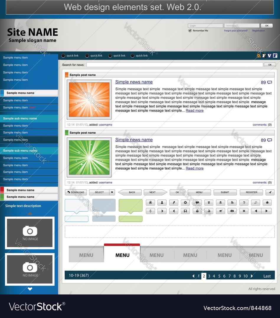 Blue web design elements set