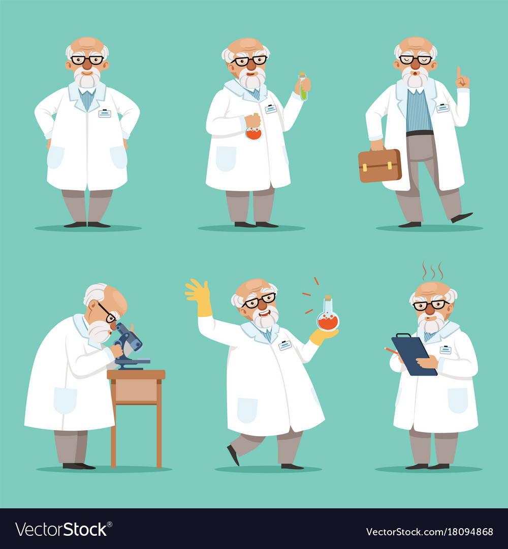 Character of old scientist or chemist mascot