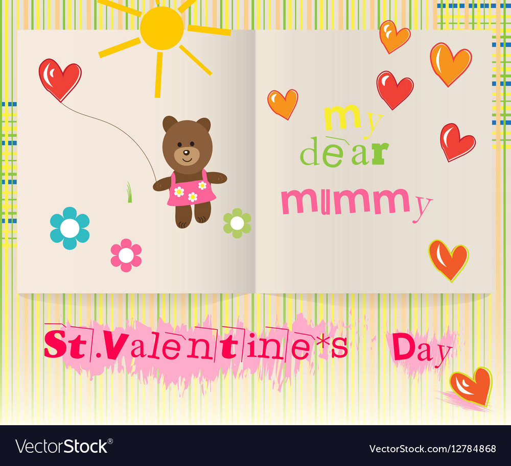Childrens Valentines Day Card For Mom Royalty Free Vector