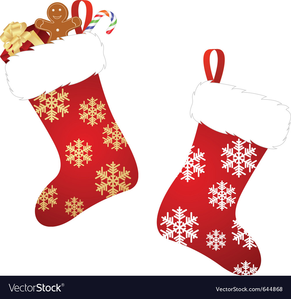 Christmas stockings Royalty Free Vector Image - VectorStock