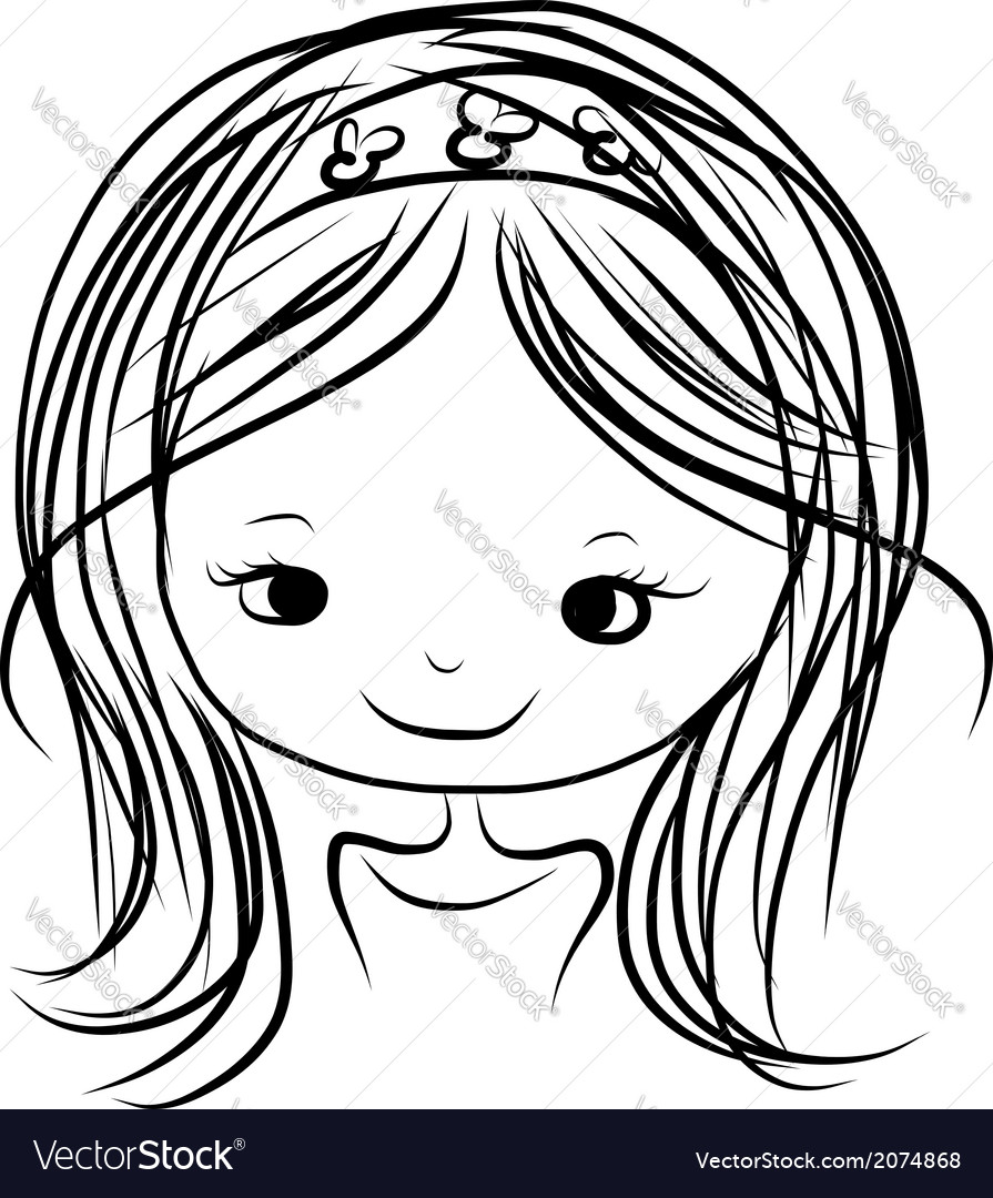 Cute girl smiling sketch for your design