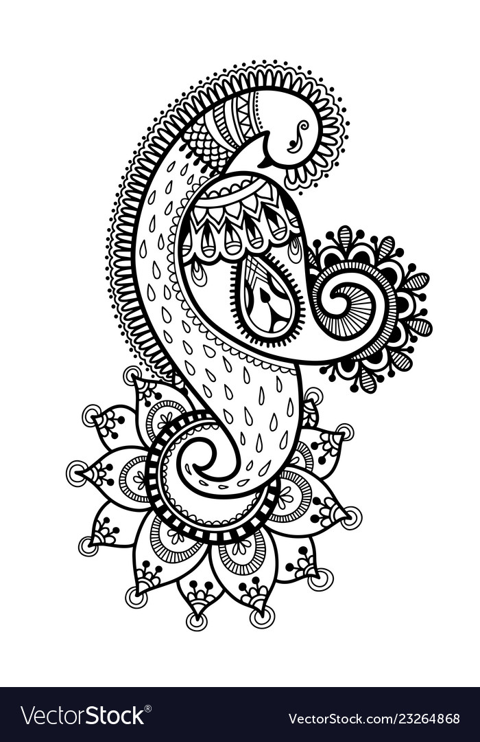 Drawing Of Peacock For Henna Mehndi Tattoo