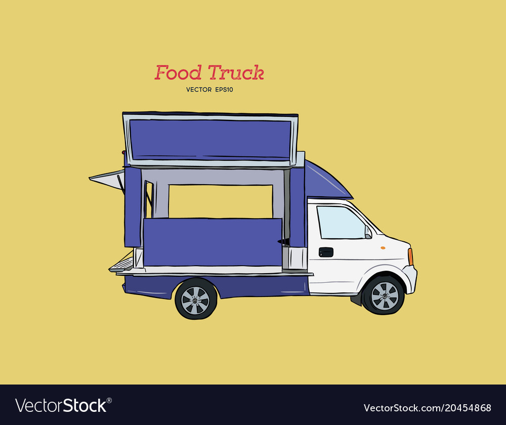 Food truck carnival hand draw sketch style