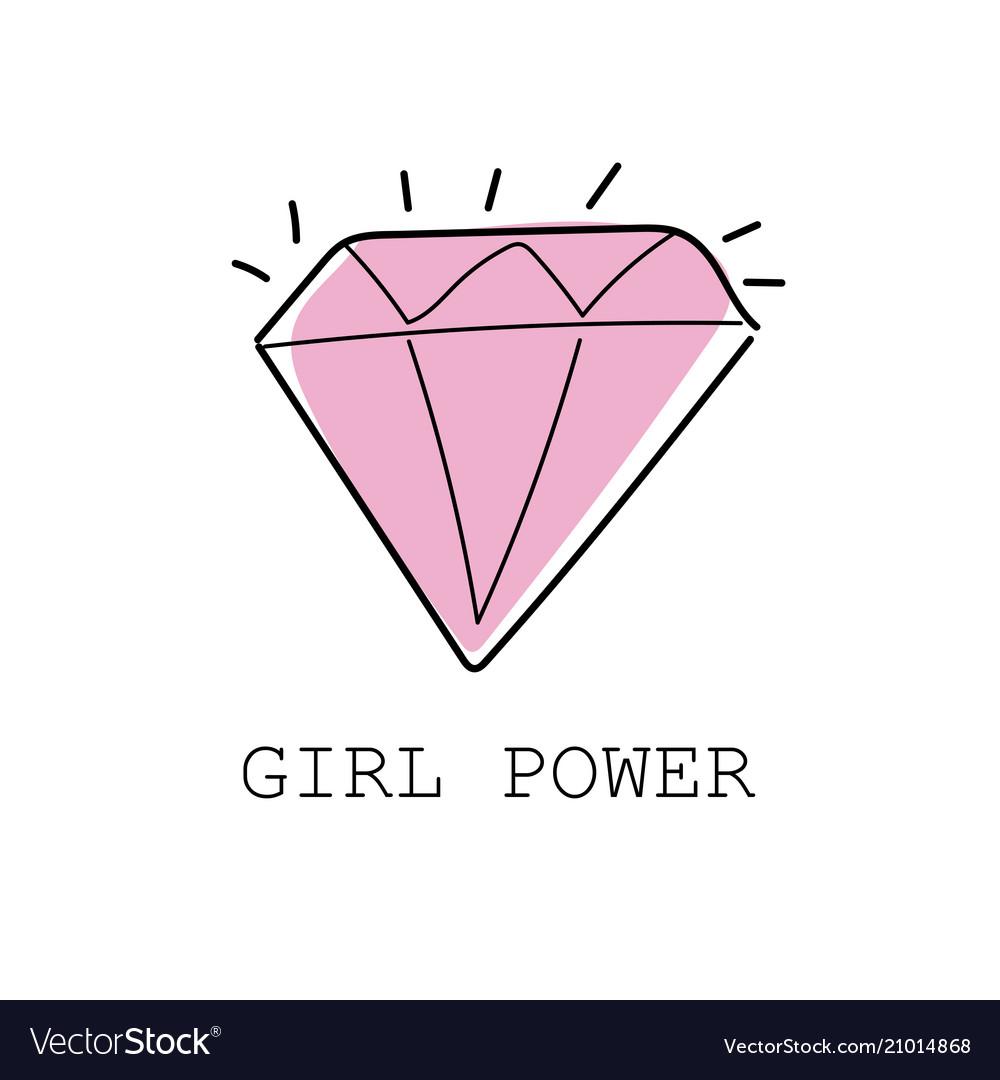Girl power colorful graffiti with diamond vector image