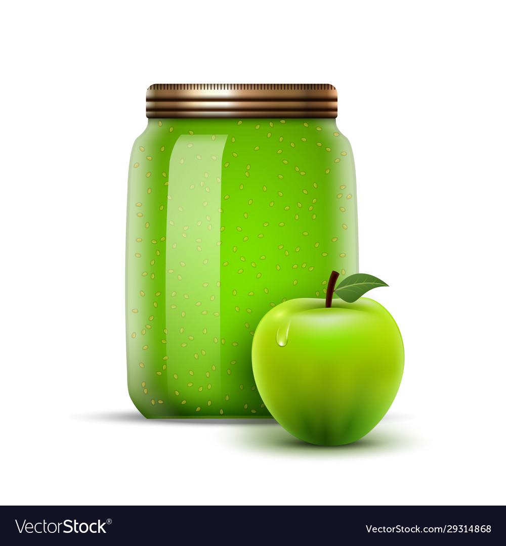 Glass jar apple jam fruit bottle jelly