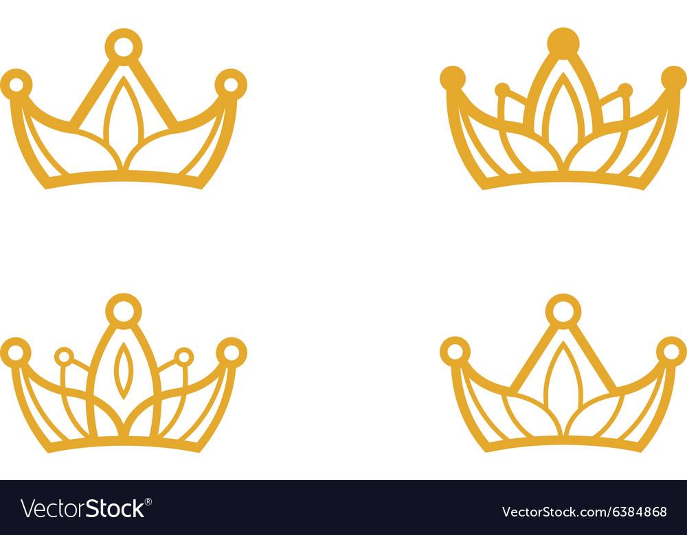 Golden Crown Symbols Royalty Free Vector Image