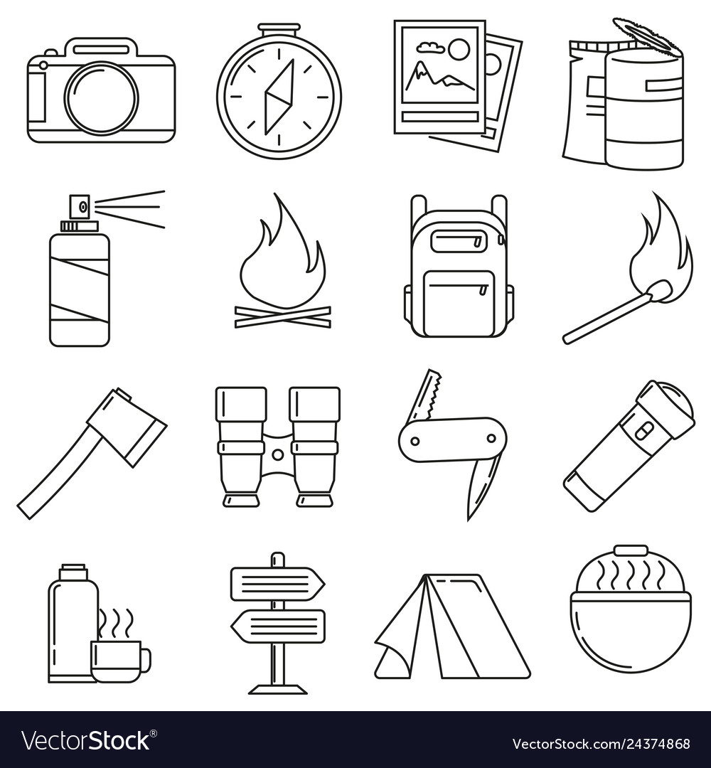 Icons on the theme of travel camping on a white