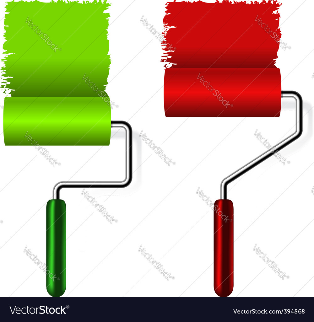 Paint Roller Brush Royalty Free Vector Image Vectorstock