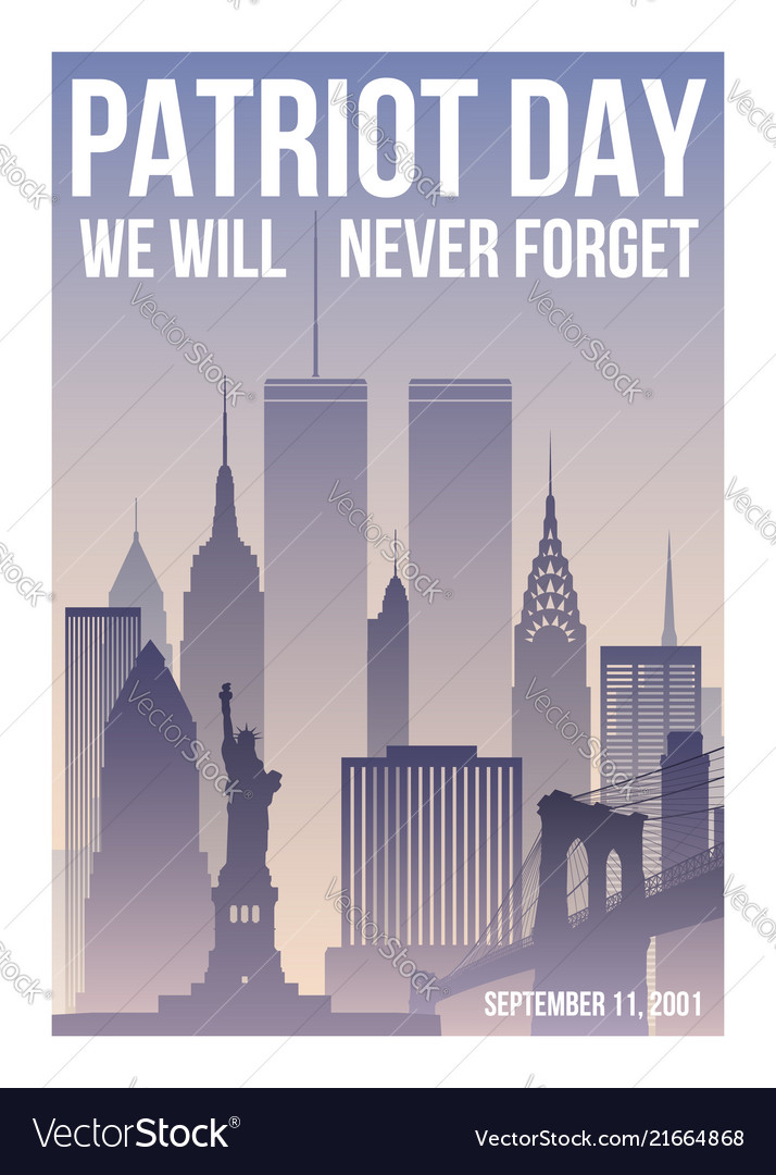 Patriot day poster with new york skyline
