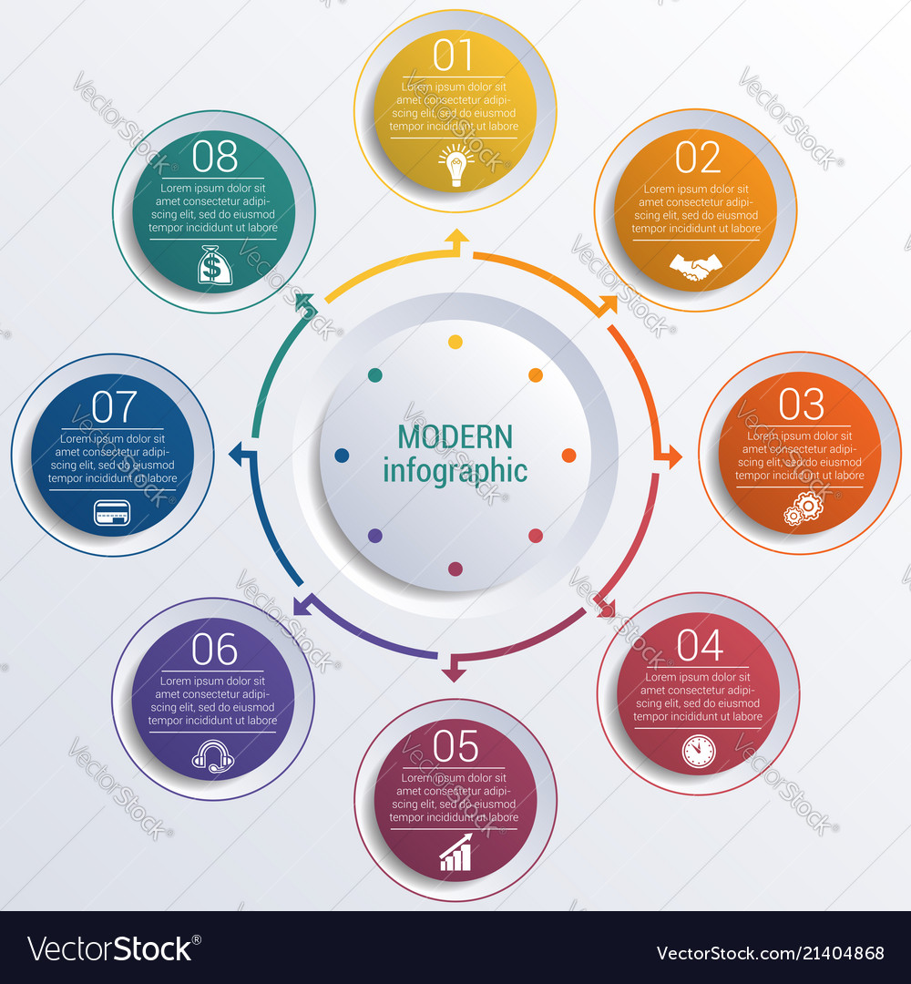 Pattern for infographic 8 positions colorful