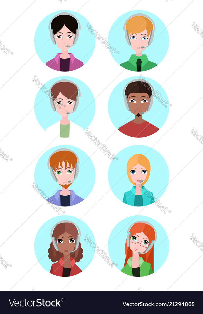 Portraits of various people tech support element