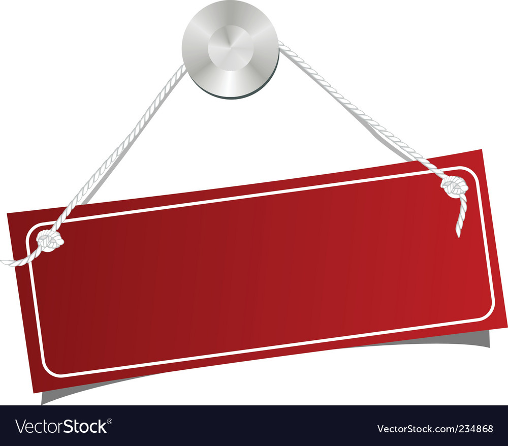 Red label on a nail vector image