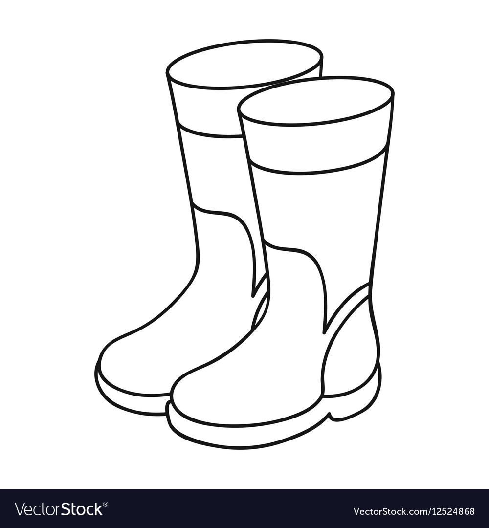 Rubber boots icon in outline style isolated on