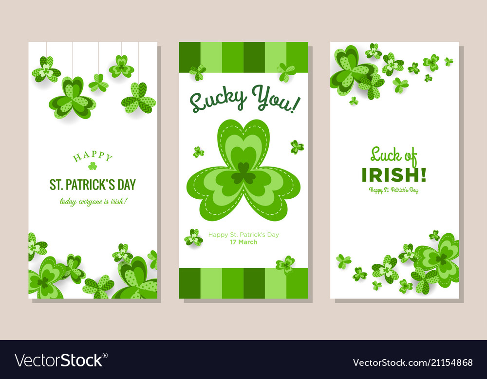 St patricks day vertical banners set