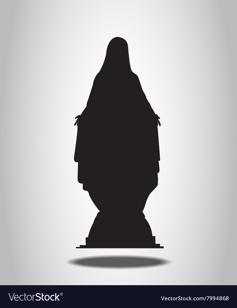Virgin Mary Statue Silhouettes on the white backgr