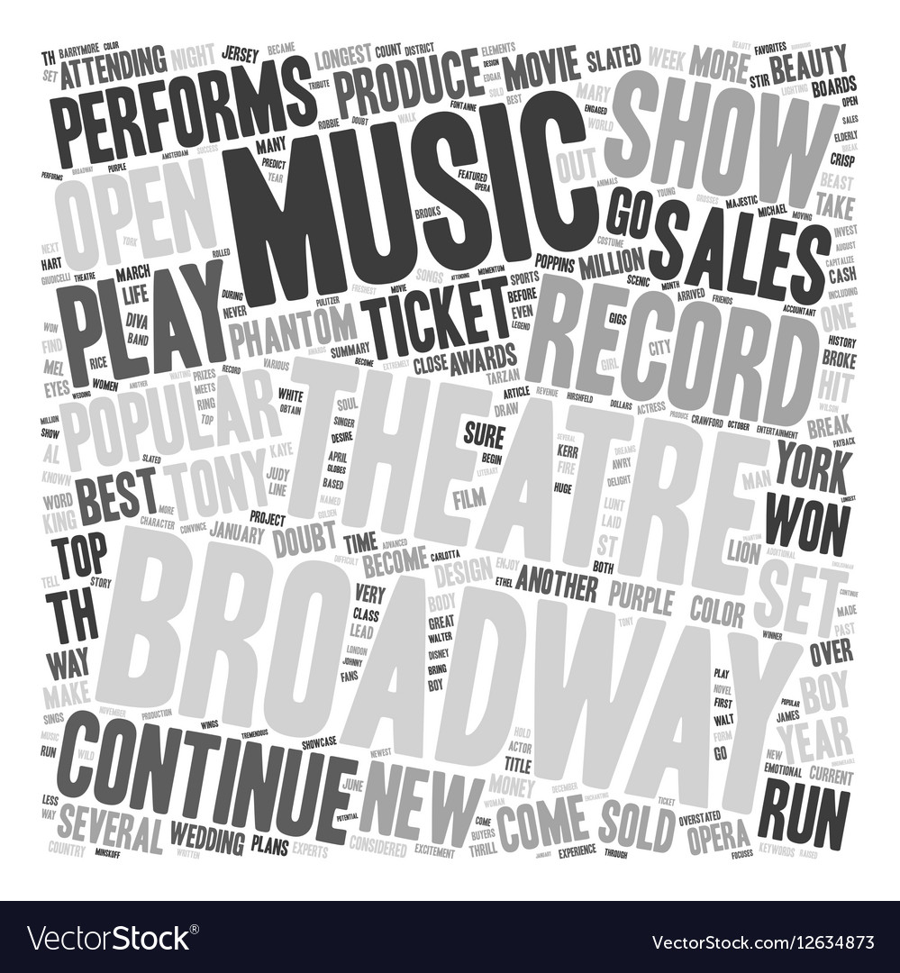 Broadway Set for Record Year in 2006 text vector image