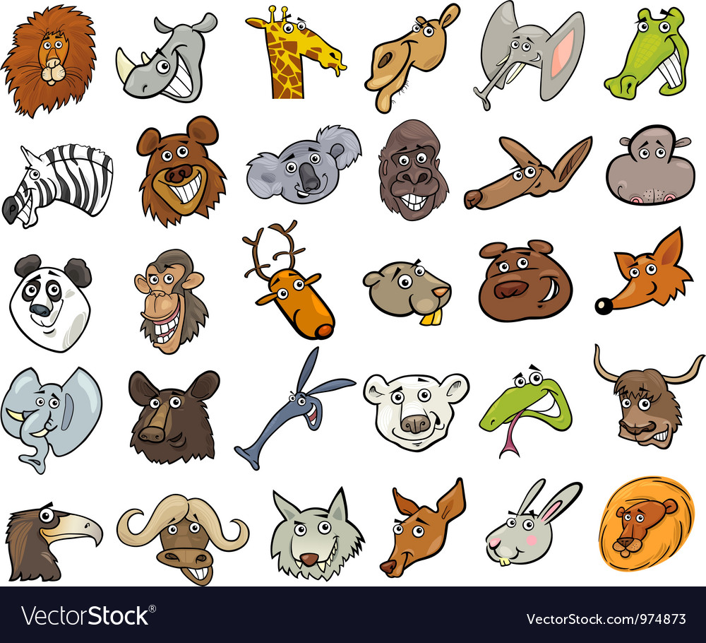 cartoon wild animals heads huge set royalty free vector
