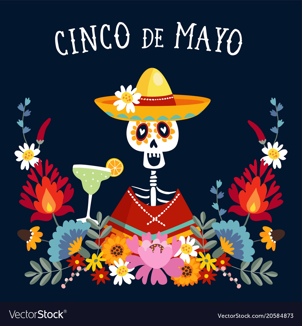 Cinco de mayo greeting card invitation with vector image m4hsunfo