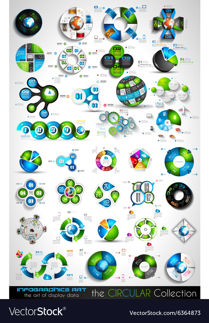 Circular infographics big collection for your