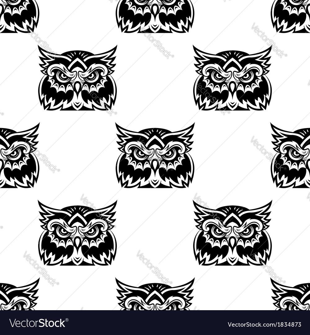 Cute little wise old owl seamless pattern