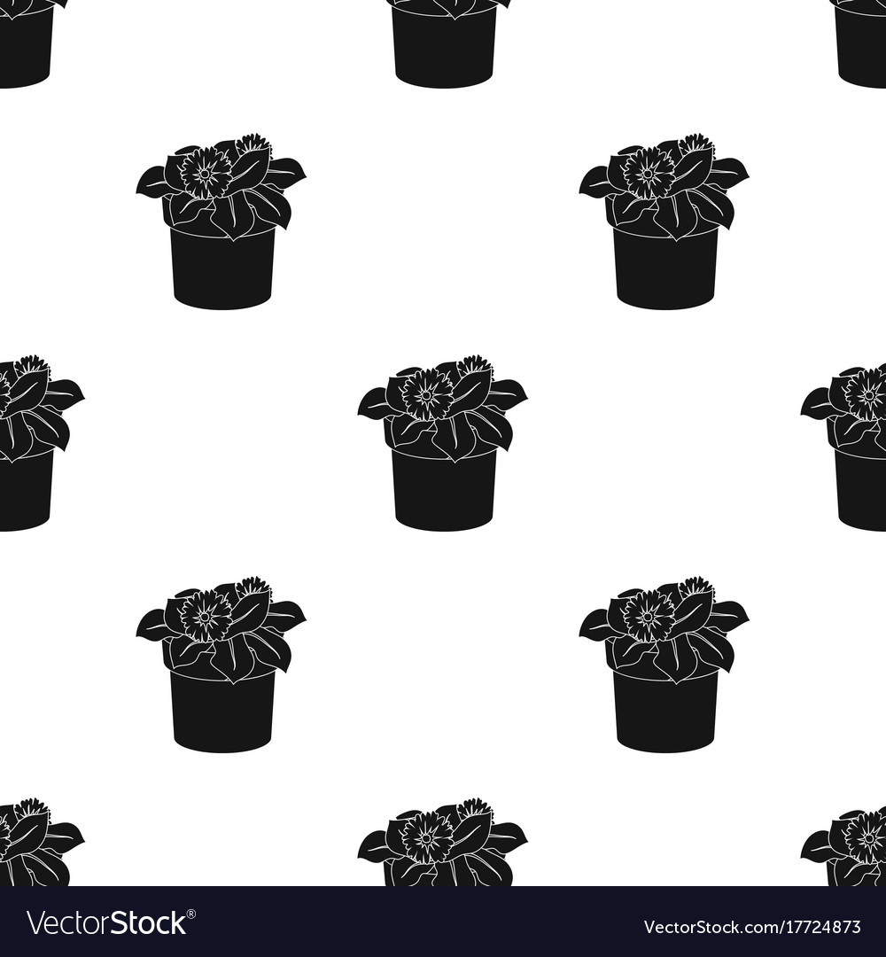 Flower in the pot icon in black style isolated on