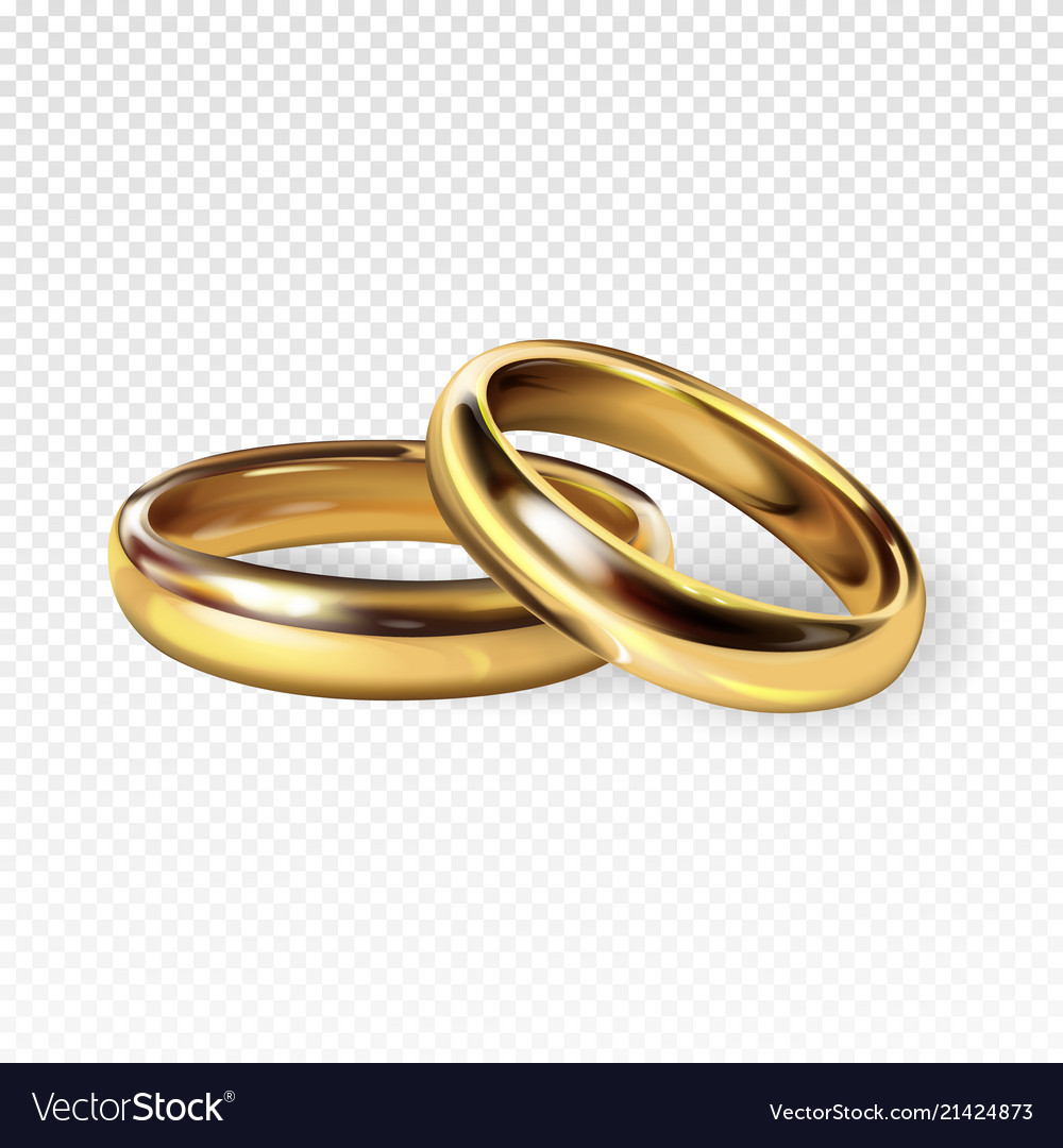 Golden wedding rings 3d