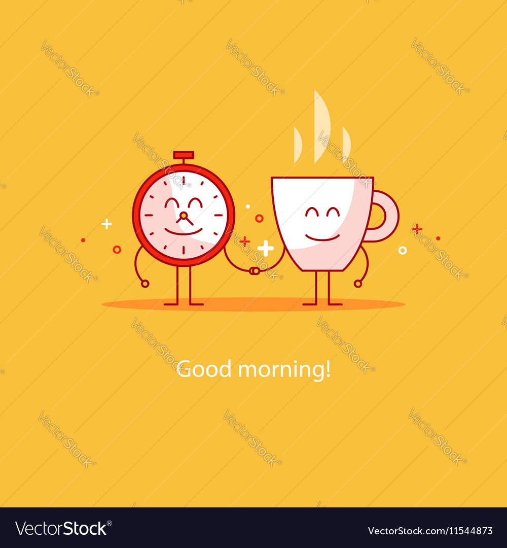 good morning new day tea time royalty free vector image