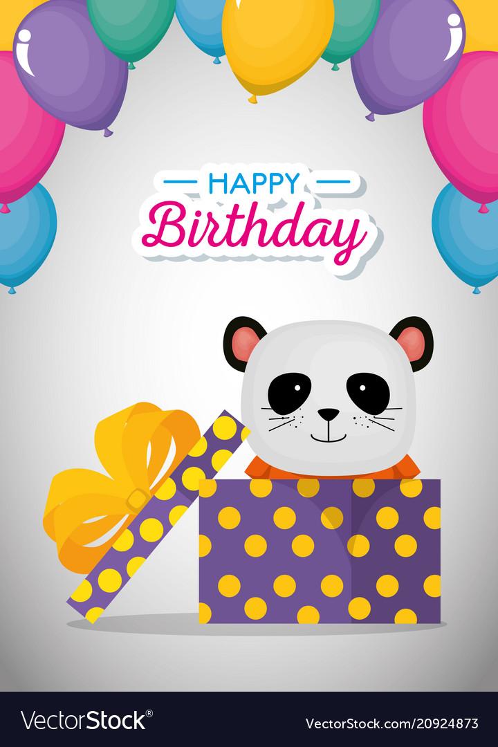 Happy Birthday Card With Cute Bear Panda Vector Image