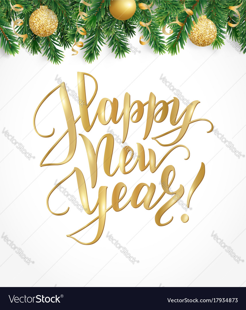 Happy new year card with fir tree garland