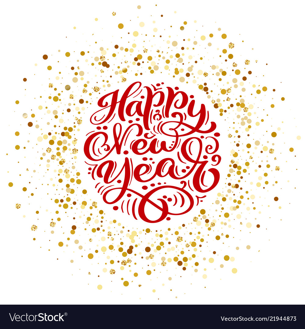 Happy new year text calligraphic lettering