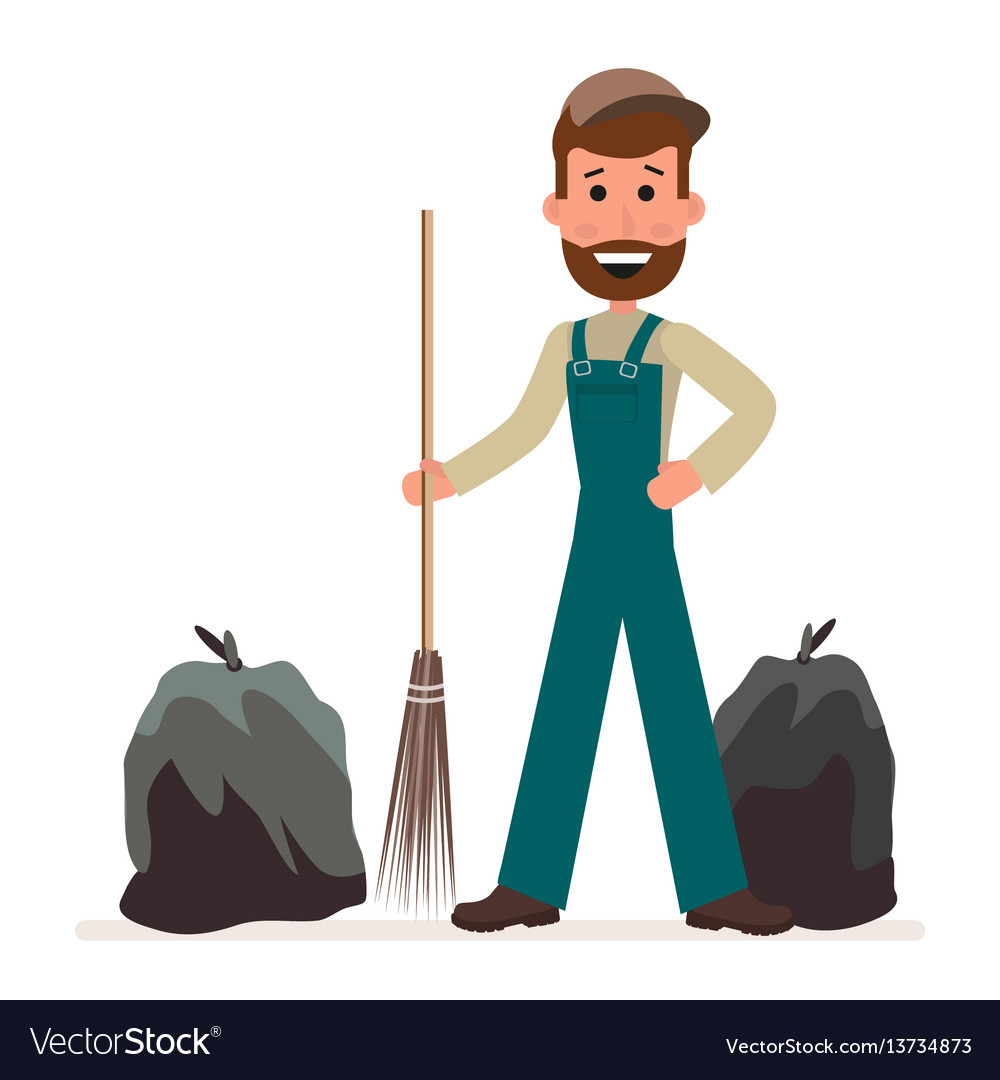 Janitor with a broom and garbage bags isolated on