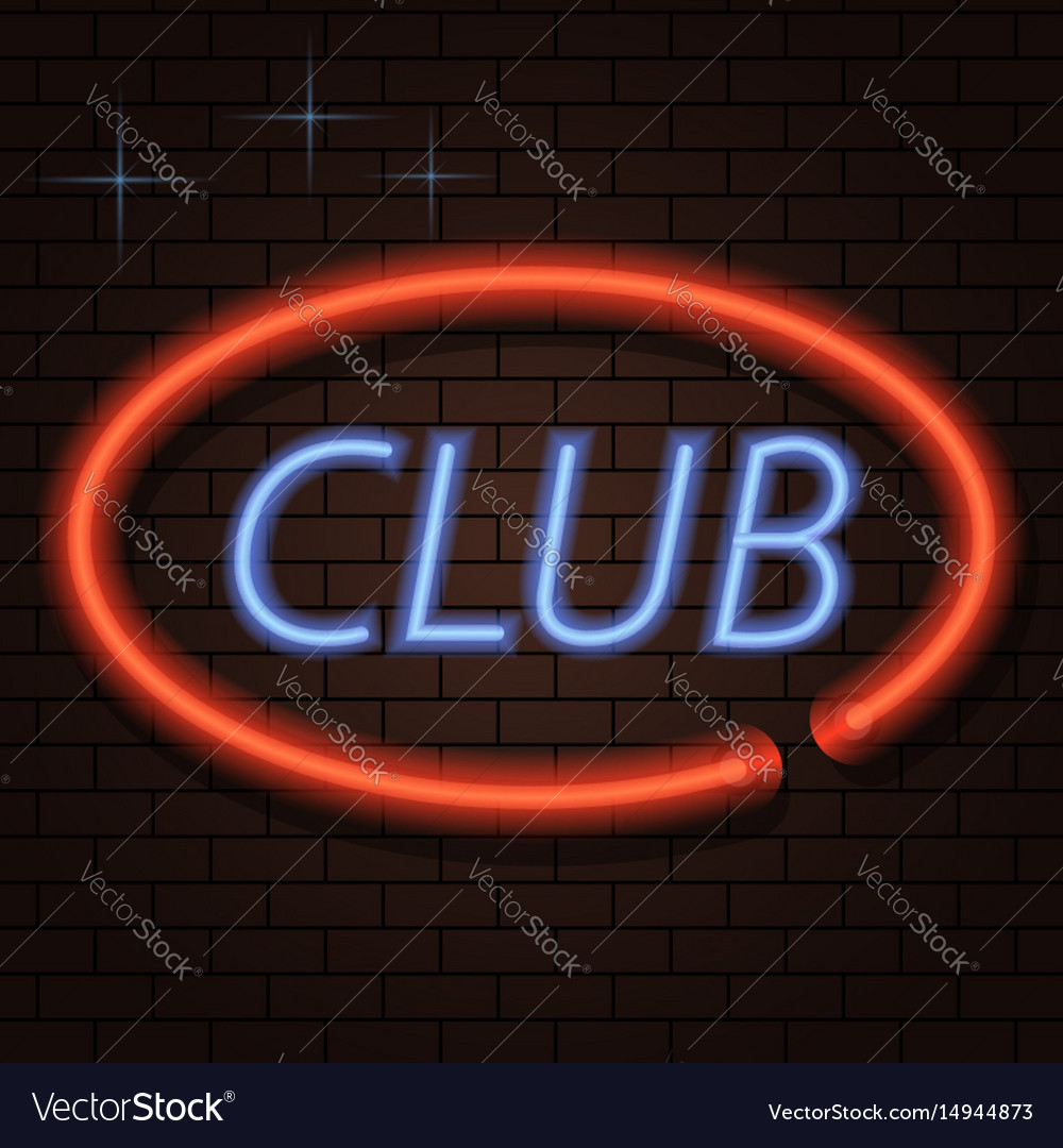 Neon signboard inscription club on a brick