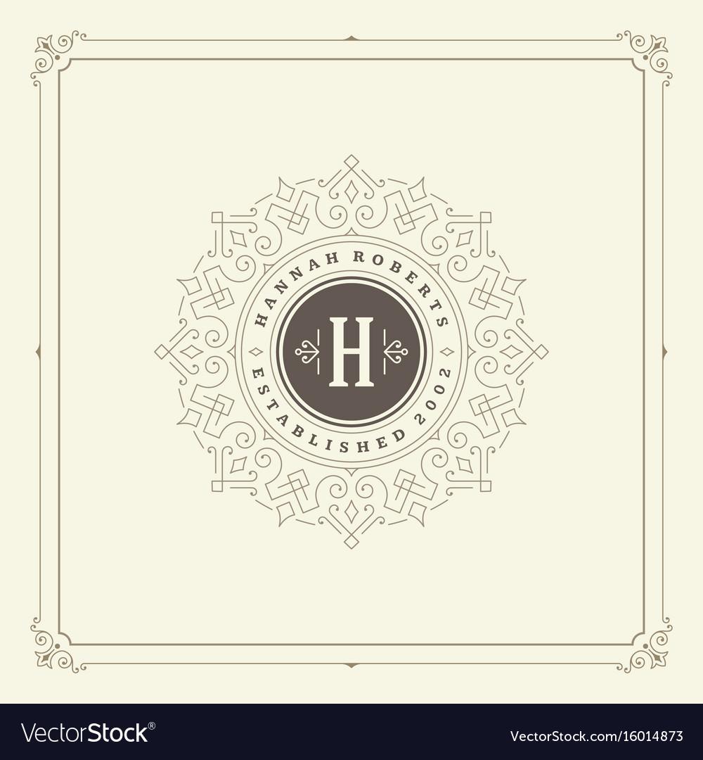 Ornament monogram logo design template vector image