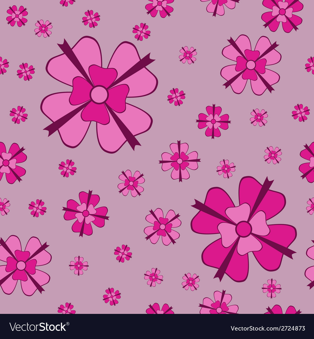 Pink flowers with bows seamless pattern
