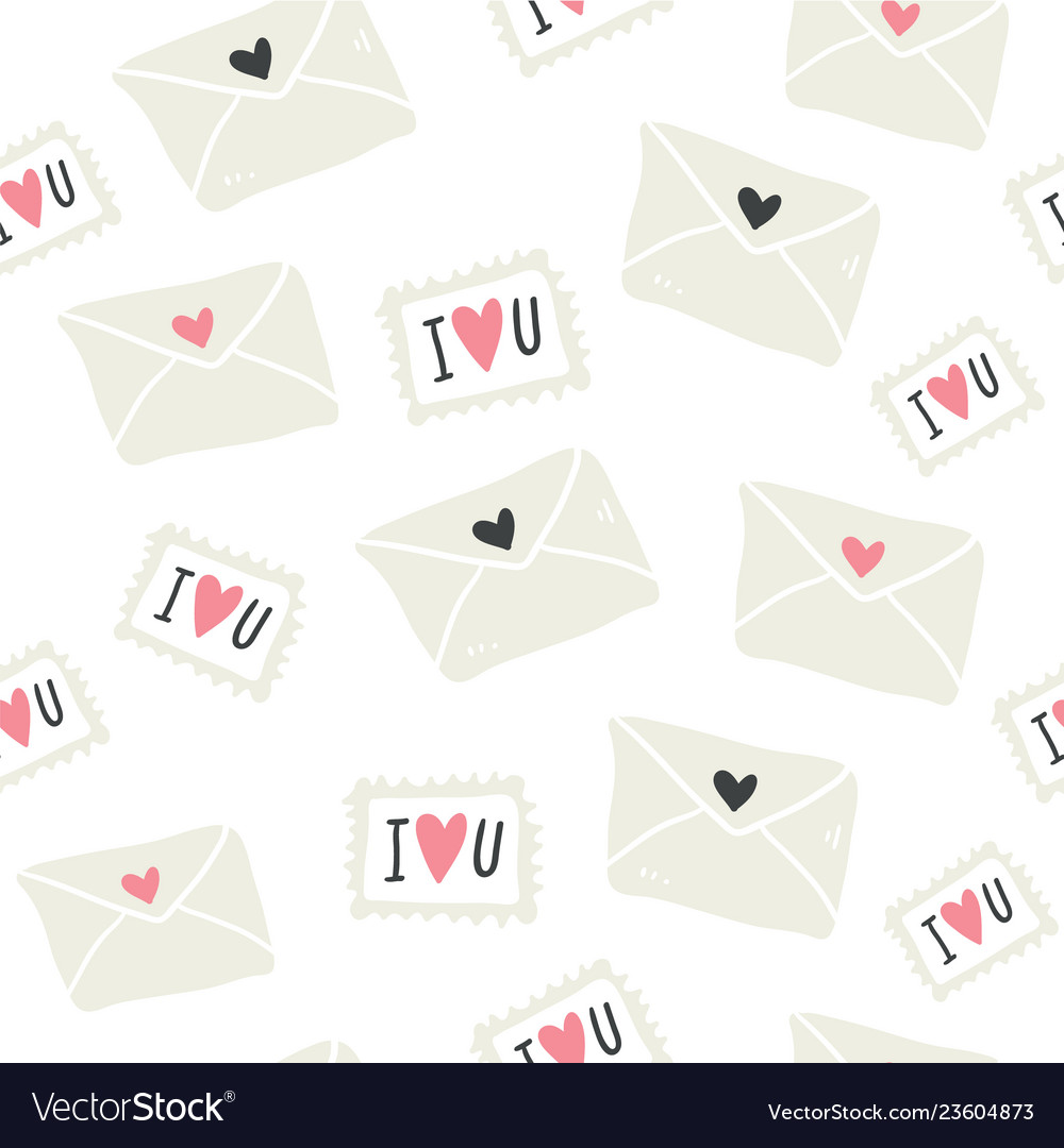 Seamless pattern with love letters postal stamps