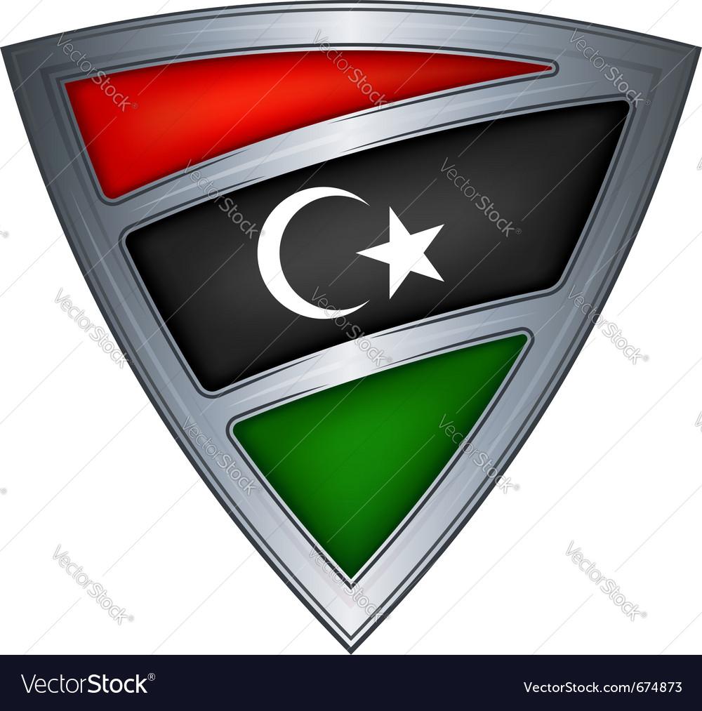 Steel shield with flag libya vector image