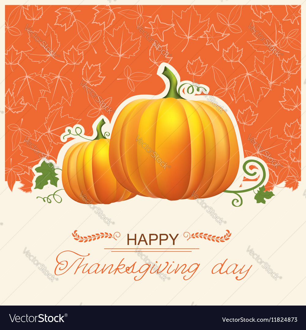 Thanksgiving day card with autumn pumpkins