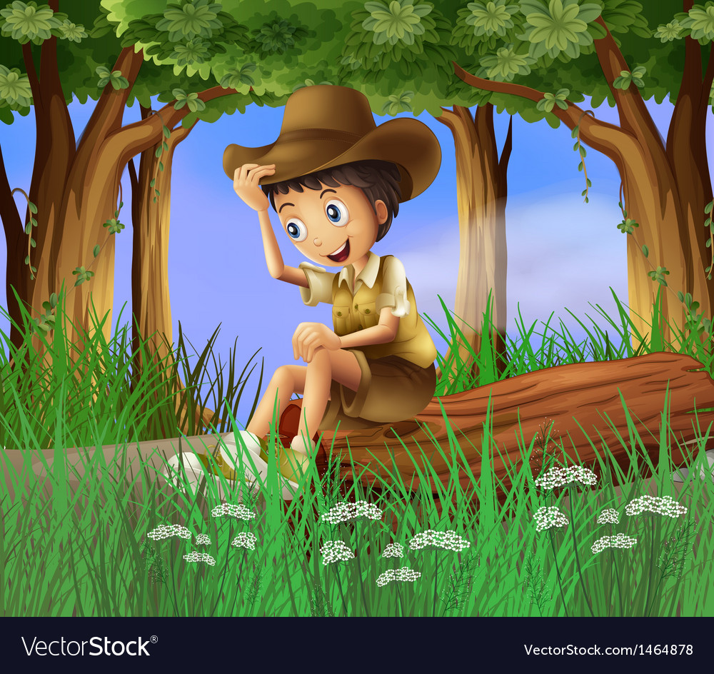 A boy sitting at the log vector image