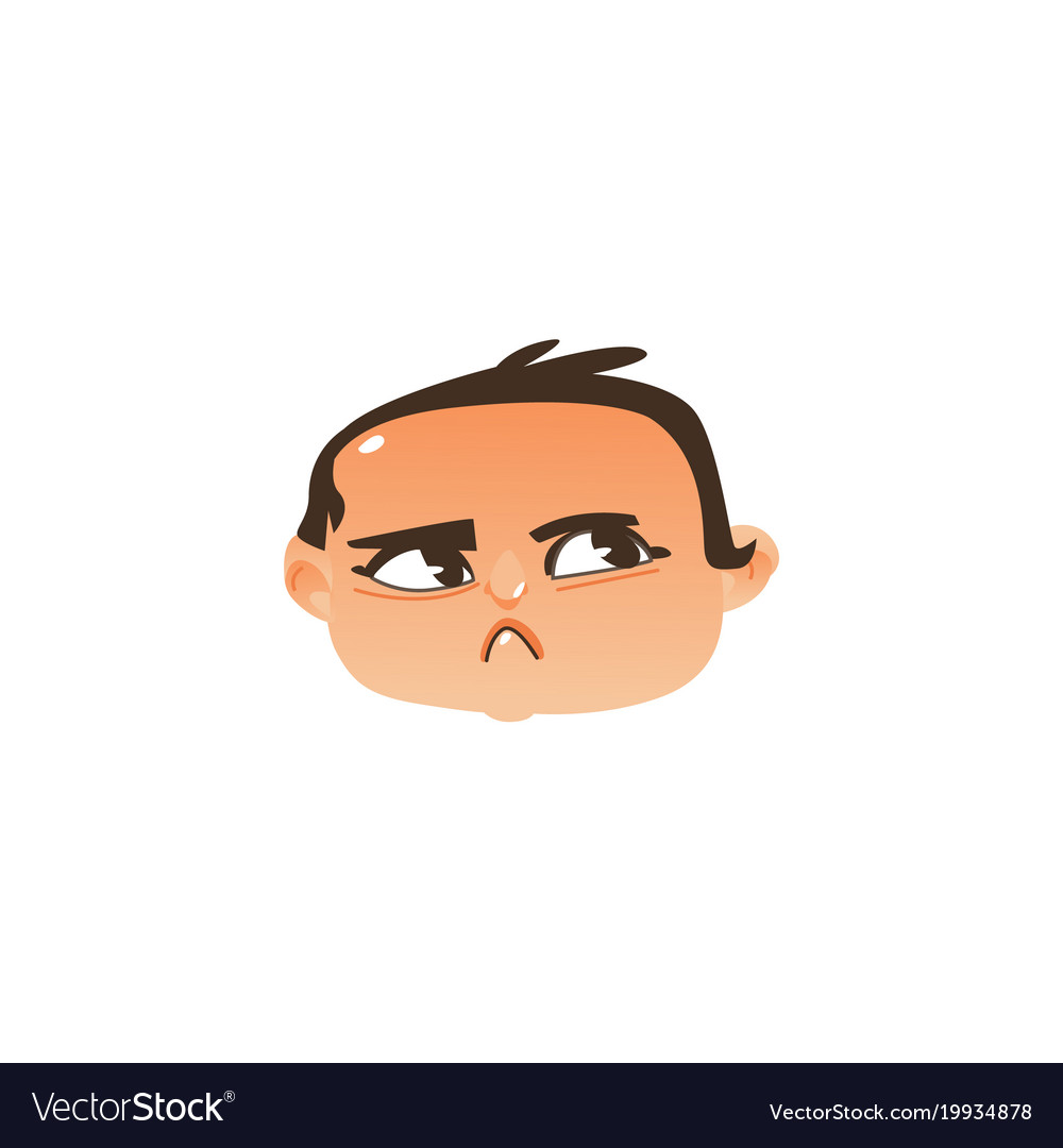 Baby head icon - angry suspicious face expression