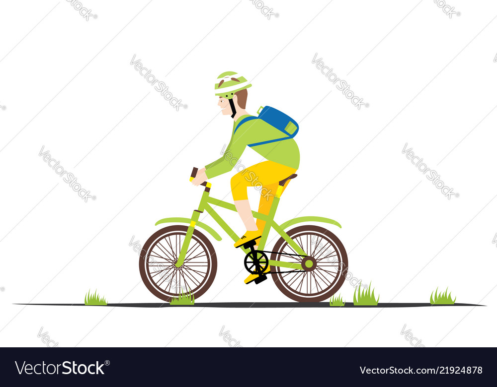 Bicycle rider man in flat style man on a bike