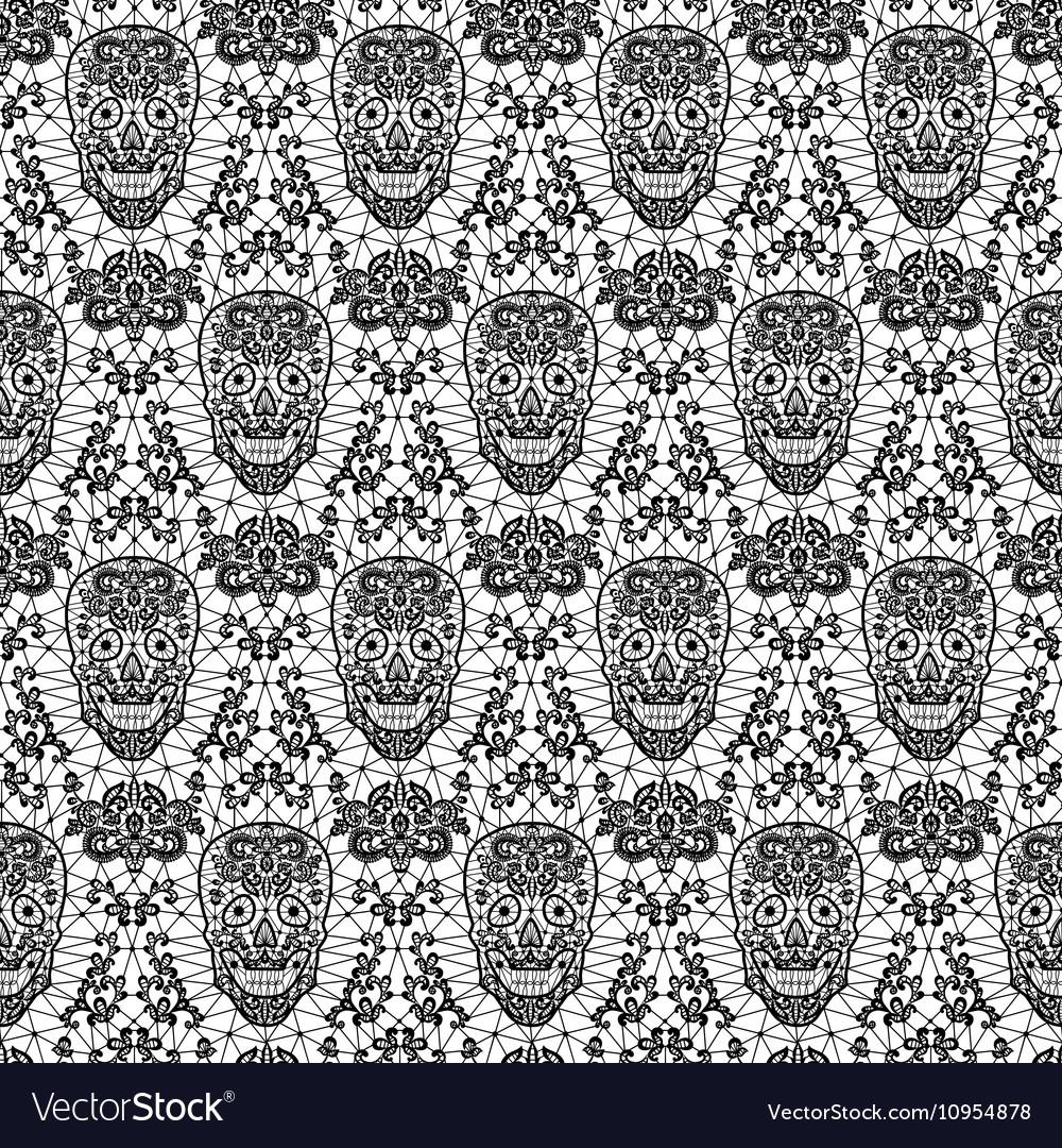 Black seamless lace skull