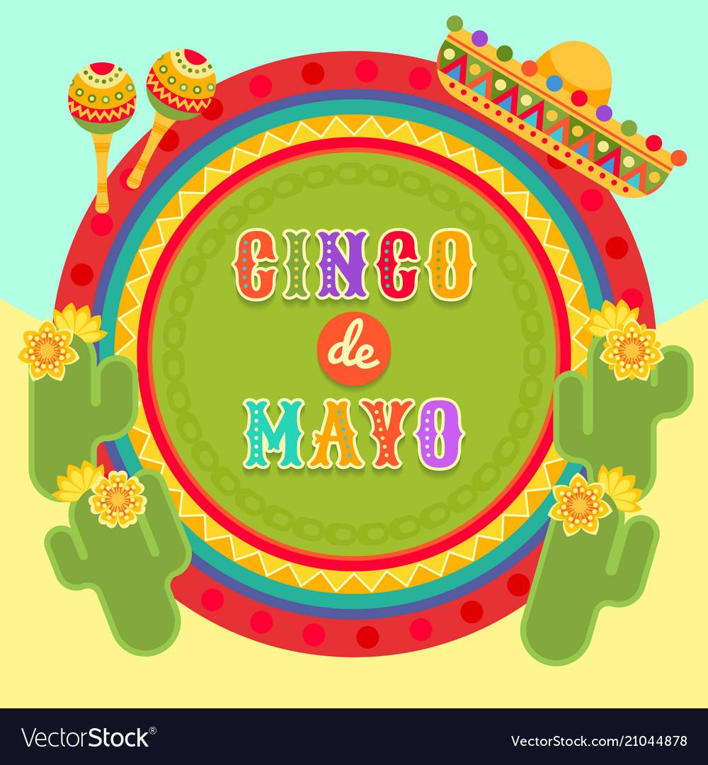 Fiesta postcard cactus sombrero maraca text