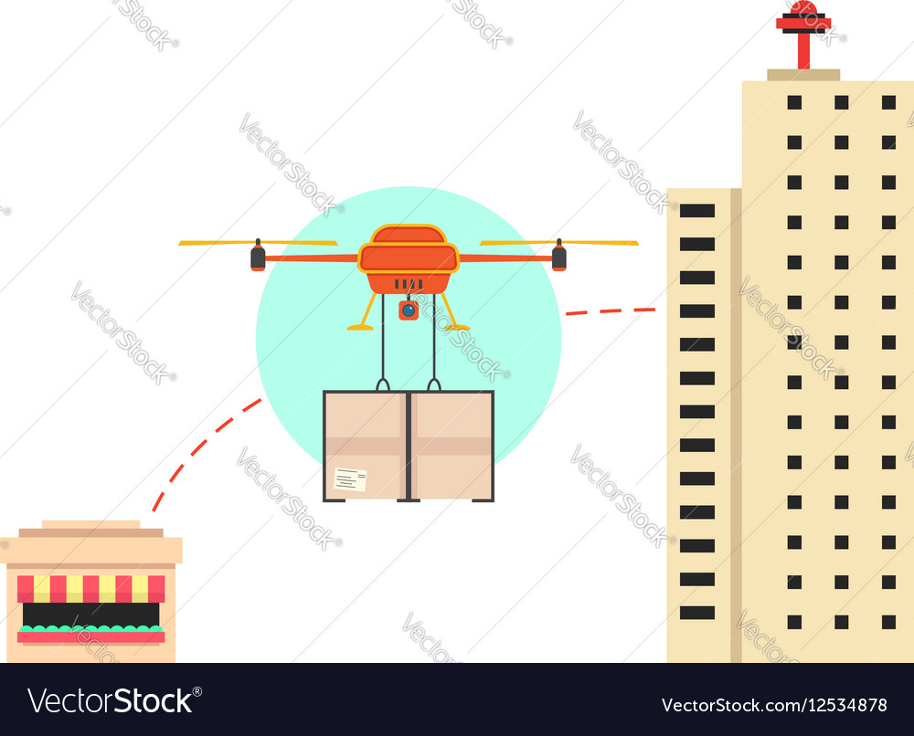 Food delivery in town with drone
