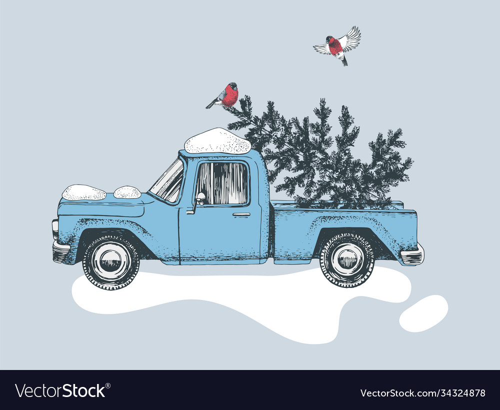 Hand drawn card with blue truck and christmas tree